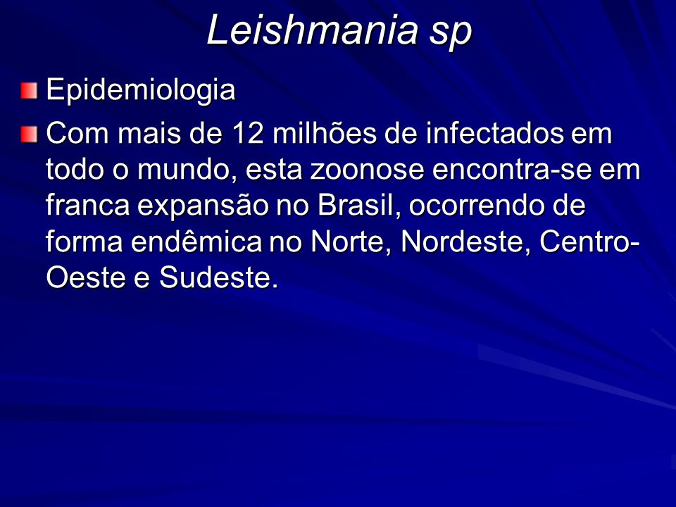 Leishmania sp Epidemiologia