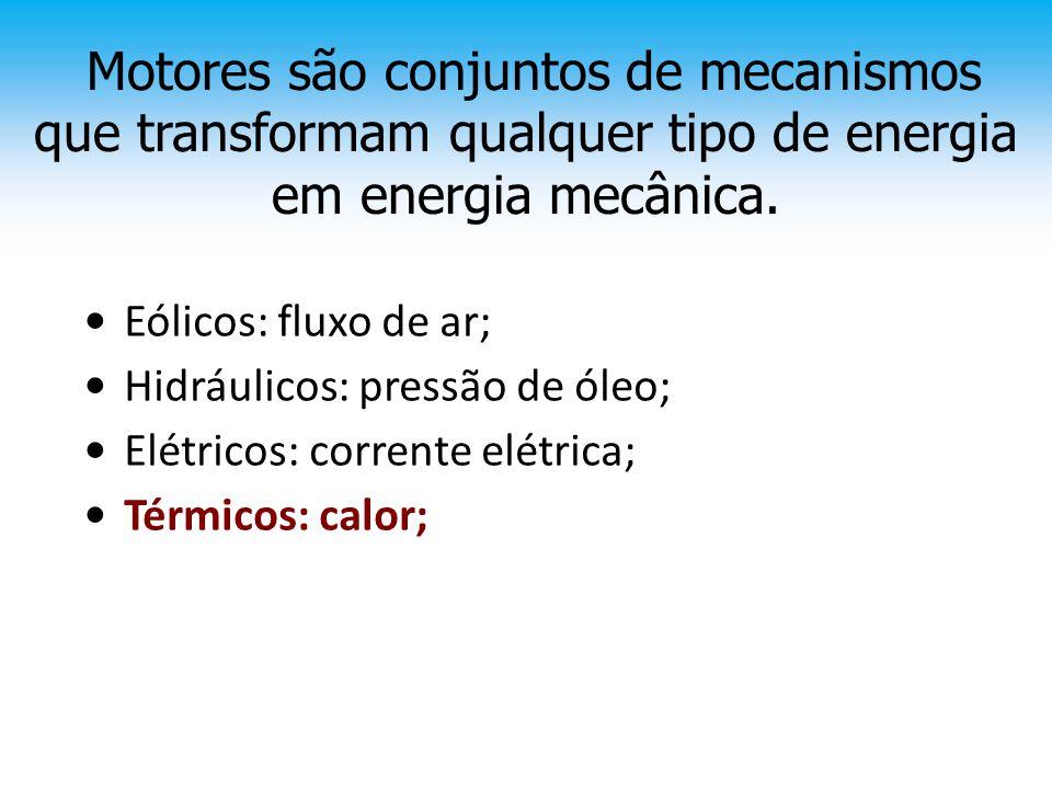 Motores são conjuntos de mecanismos que transformam qualquer tipo de energia em energia mecânica.