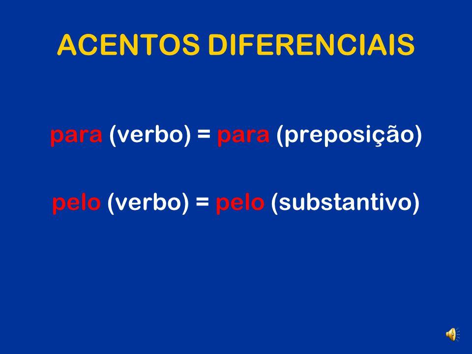 ACENTOS DIFERENCIAIS para (verbo) = para (preposição)