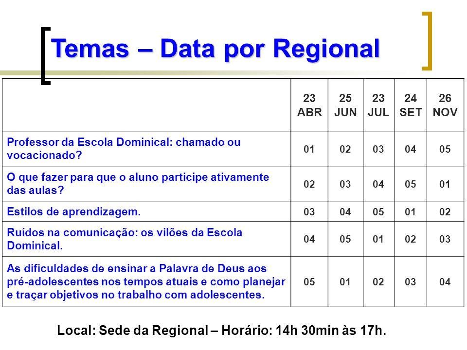 Local: Sede da Regional – Horário: 14h 30min às 17h.
