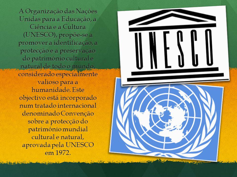 A Organização das Nações Unidas para a Educação, a Ciência e a Cultura (UNESCO), propõe-se a promover a identificação, a protecção e a preservação do património cultural e natural de todo o mundo, considerado especialmente valioso para a humanidade.