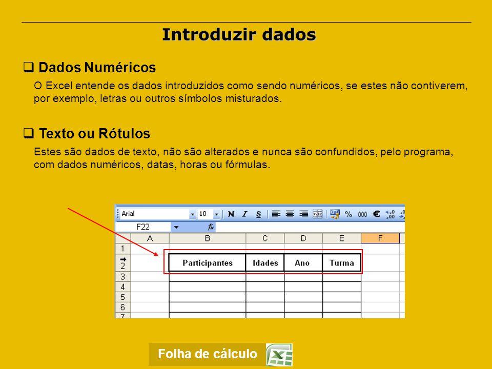 Introduzir dados Dados Numéricos Texto ou Rótulos Folha de cálculo