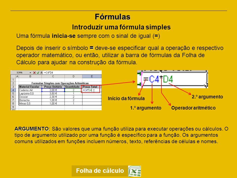 Introduzir uma fórmula simples