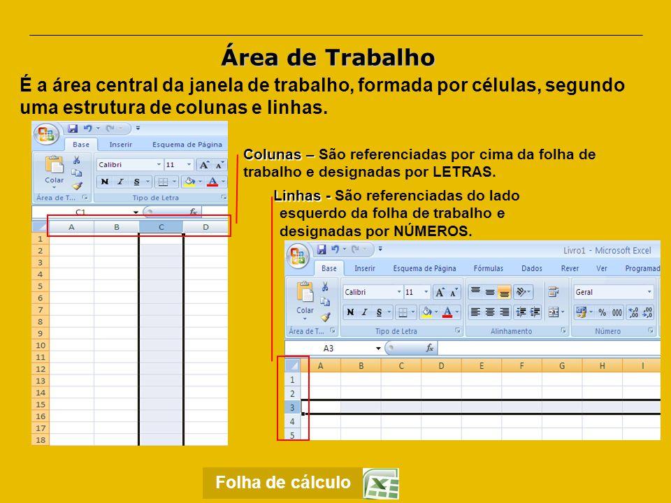Área de Trabalho É a área central da janela de trabalho, formada por células, segundo uma estrutura de colunas e linhas.