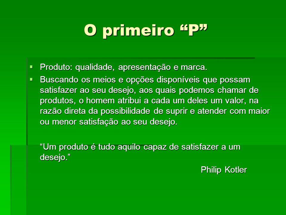 O primeiro P Produto: qualidade, apresentação e marca.