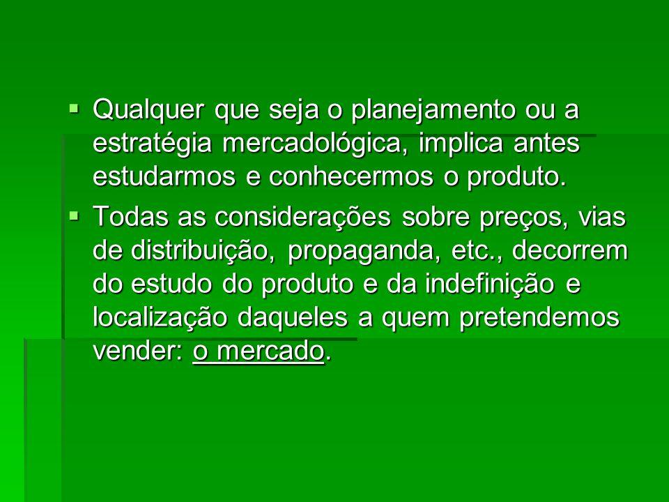 Qualquer que seja o planejamento ou a estratégia mercadológica, implica antes estudarmos e conhecermos o produto.