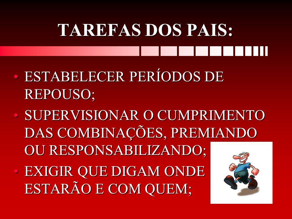 TAREFAS DOS PAIS: ESTABELECER PERÍODOS DE REPOUSO;