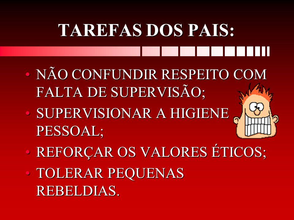 TAREFAS DOS PAIS: NÃO CONFUNDIR RESPEITO COM FALTA DE SUPERVISÃO;