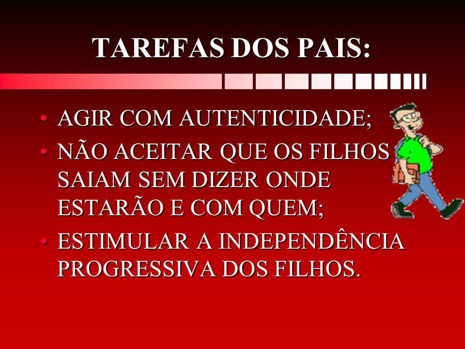 TAREFAS DOS PAIS: AGIR COM AUTENTICIDADE;