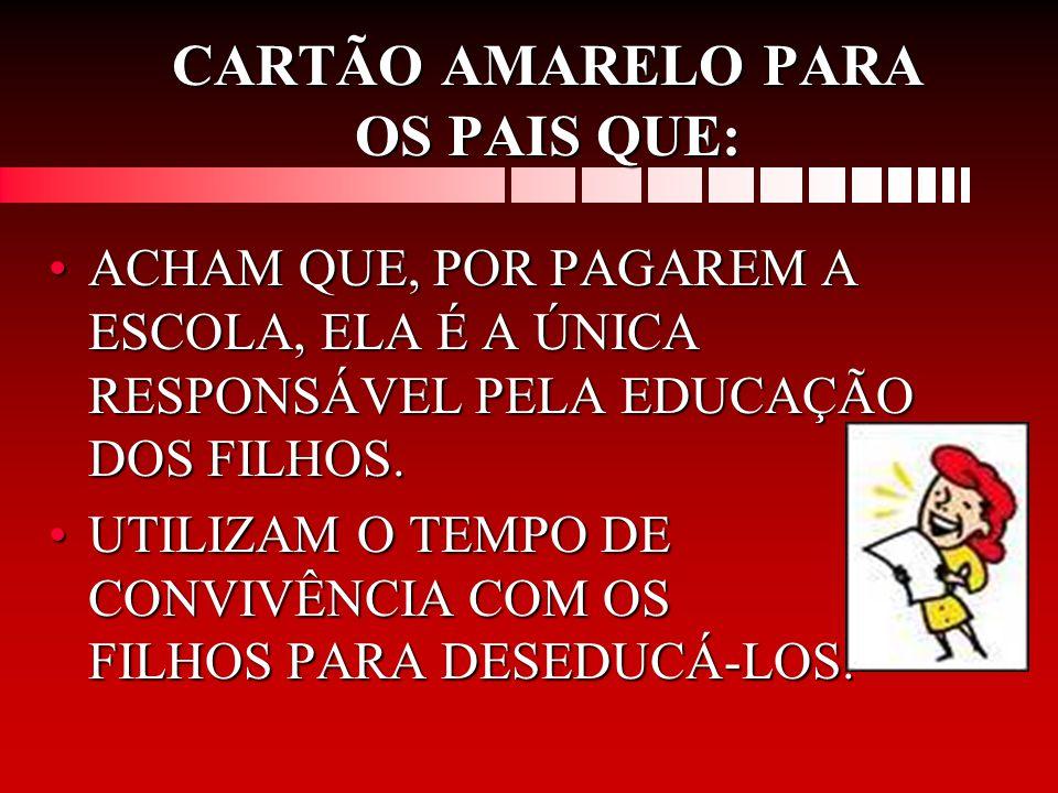 CARTÃO AMARELO PARA OS PAIS QUE: