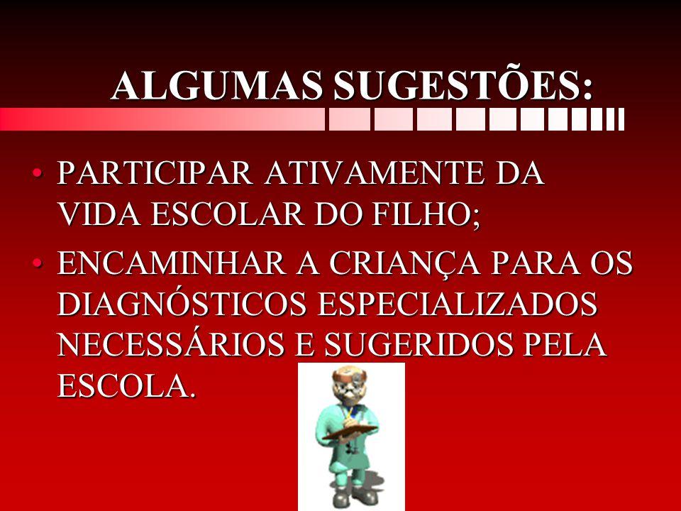 ALGUMAS SUGESTÕES: PARTICIPAR ATIVAMENTE DA VIDA ESCOLAR DO FILHO;
