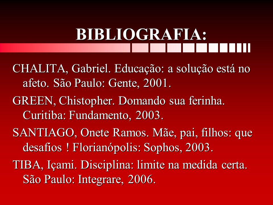 BIBLIOGRAFIA: CHALITA, Gabriel. Educação: a solução está no afeto. São Paulo: Gente, 2001.