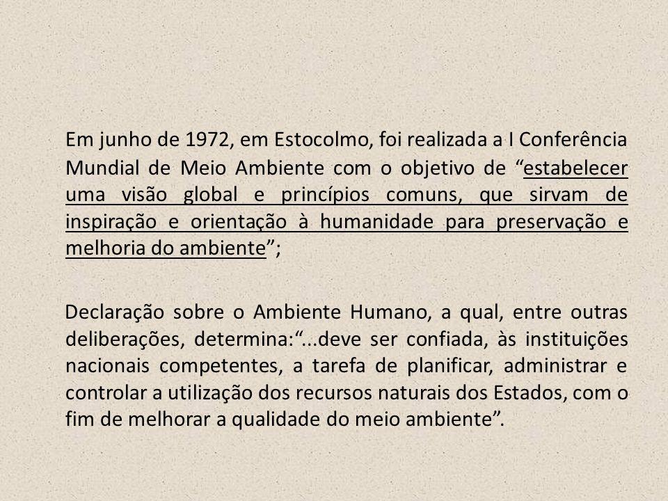 Em junho de 1972, em Estocolmo, foi realizada a I Conferência Mundial de Meio Ambiente com o objetivo de estabelecer uma visão global e princípios comuns, que sirvam de inspiração e orientação à humanidade para preservação e melhoria do ambiente ;