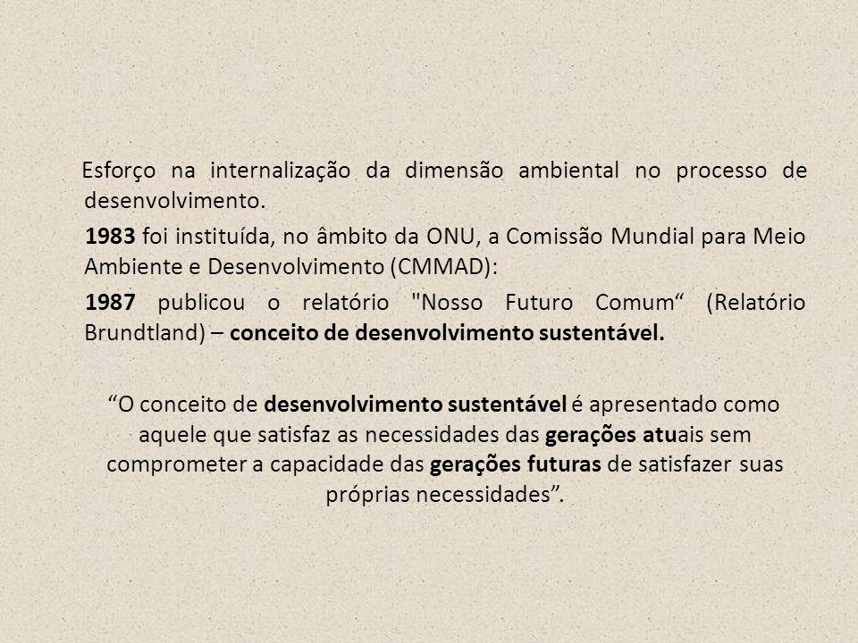 Esforço na internalização da dimensão ambiental no processo de desenvolvimento.