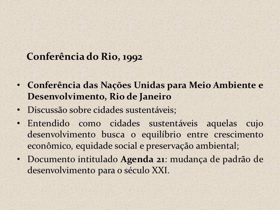 Conferência do Rio, 1992 Conferência das Nações Unidas para Meio Ambiente e Desenvolvimento, Rio de Janeiro.