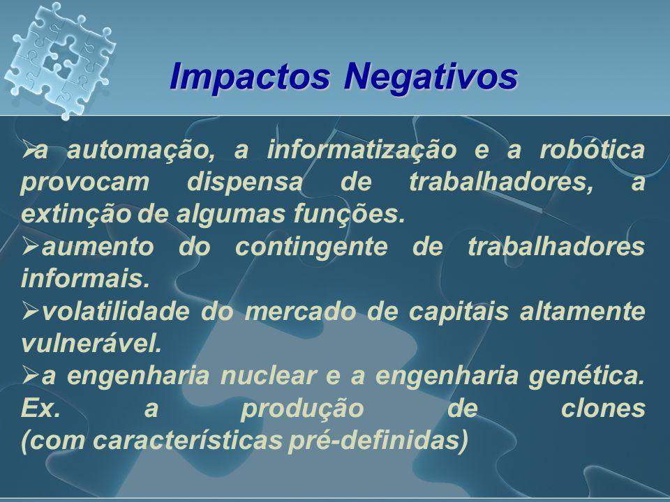 Impactos Negativos a automação, a informatização e a robótica provocam dispensa de trabalhadores, a extinção de algumas funções.