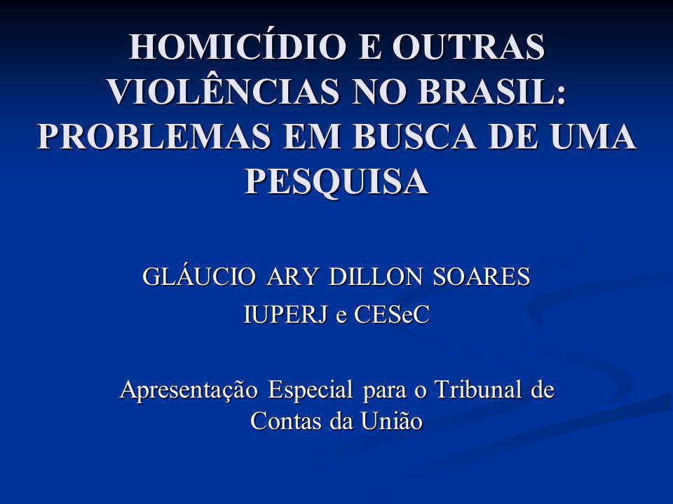HOMICÍDIO E OUTRAS VIOLÊNCIAS NO BRASIL: PROBLEMAS EM BUSCA DE UMA PESQUISA
