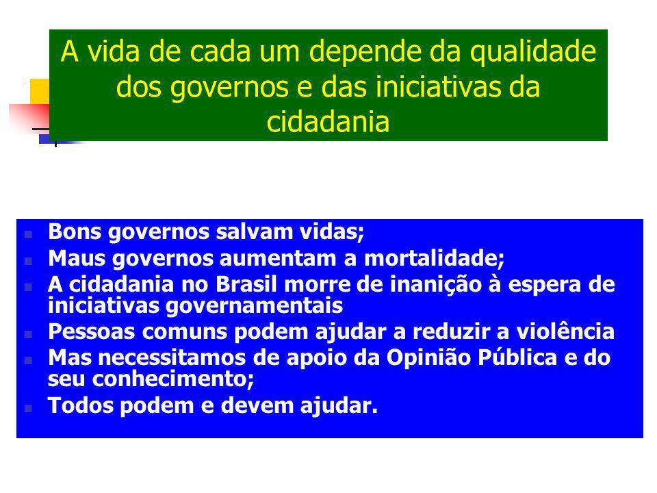 A vida de cada um depende da qualidade dos governos e das iniciativas da cidadania