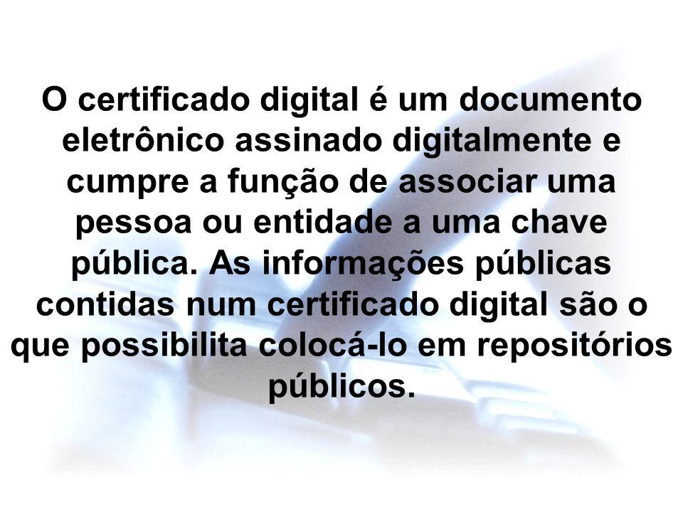 O certificado digital é um documento eletrônico assinado digitalmente e cumpre a função de associar uma pessoa ou entidade a uma chave pública.