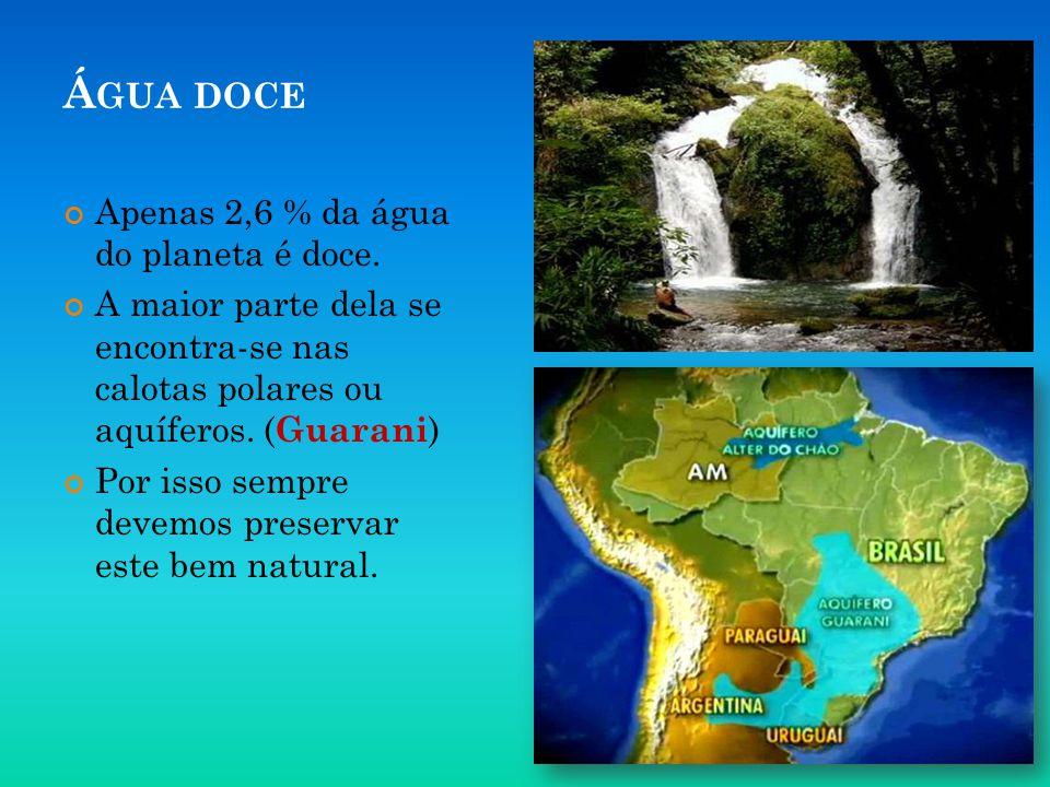 Água doce Apenas 2,6 % da água do planeta é doce.