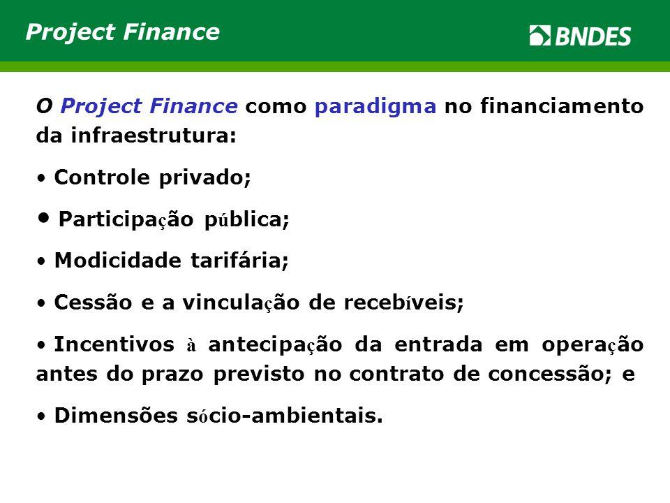 Project Finance O Project Finance como paradigma no financiamento da infraestrutura: Controle privado;