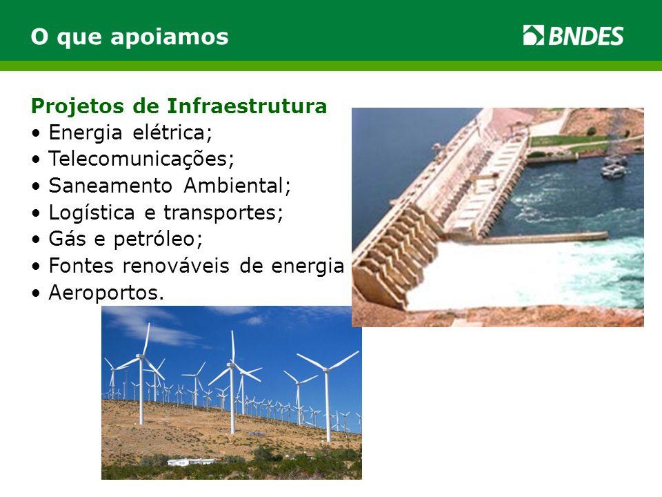 O que apoiamos Projetos de Infraestrutura Energia elétrica;