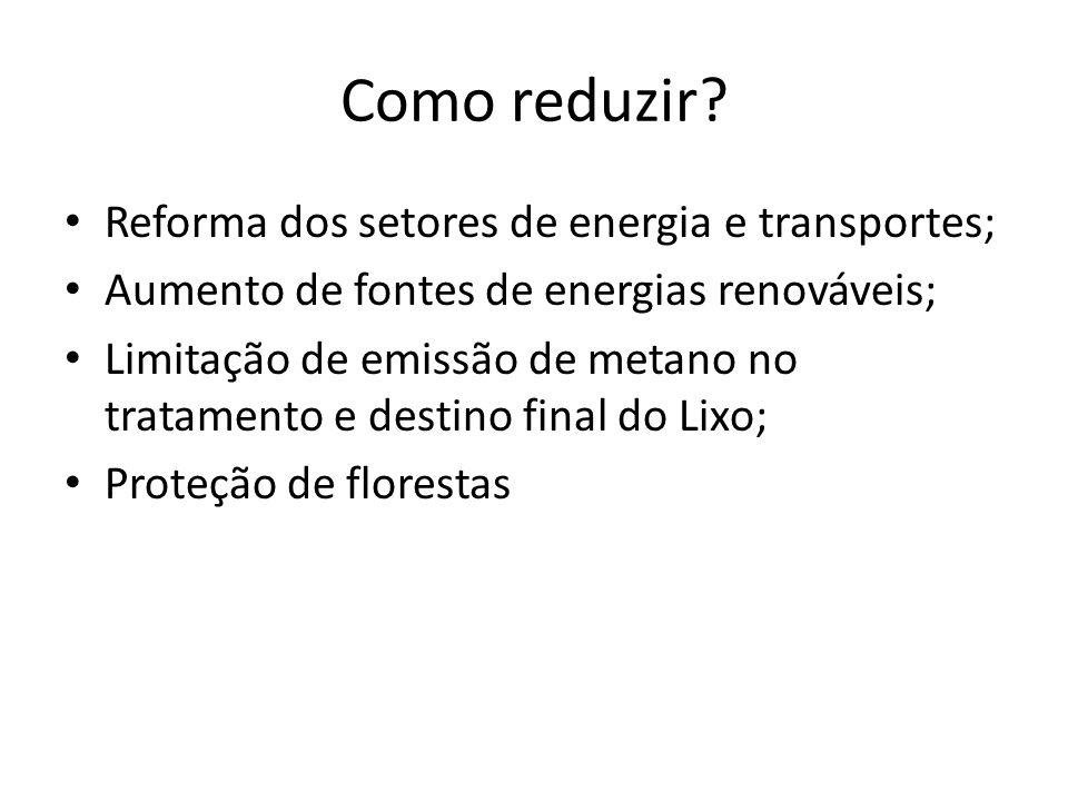 Como reduzir Reforma dos setores de energia e transportes;