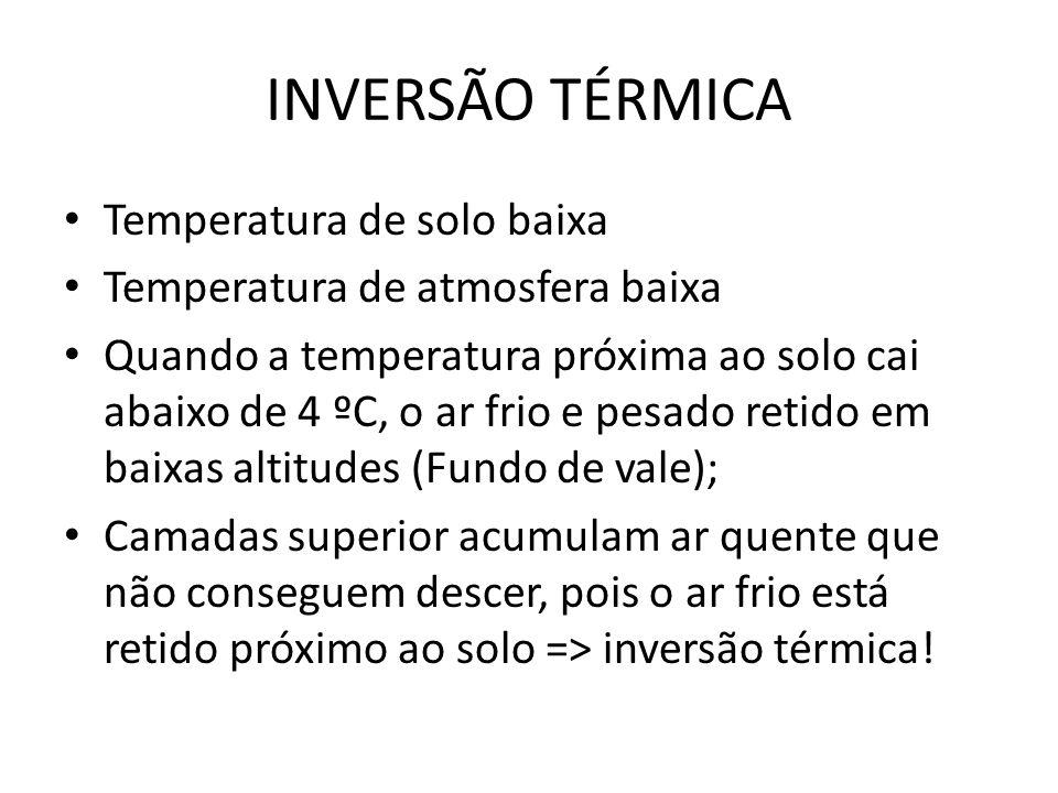 INVERSÃO TÉRMICA Temperatura de solo baixa