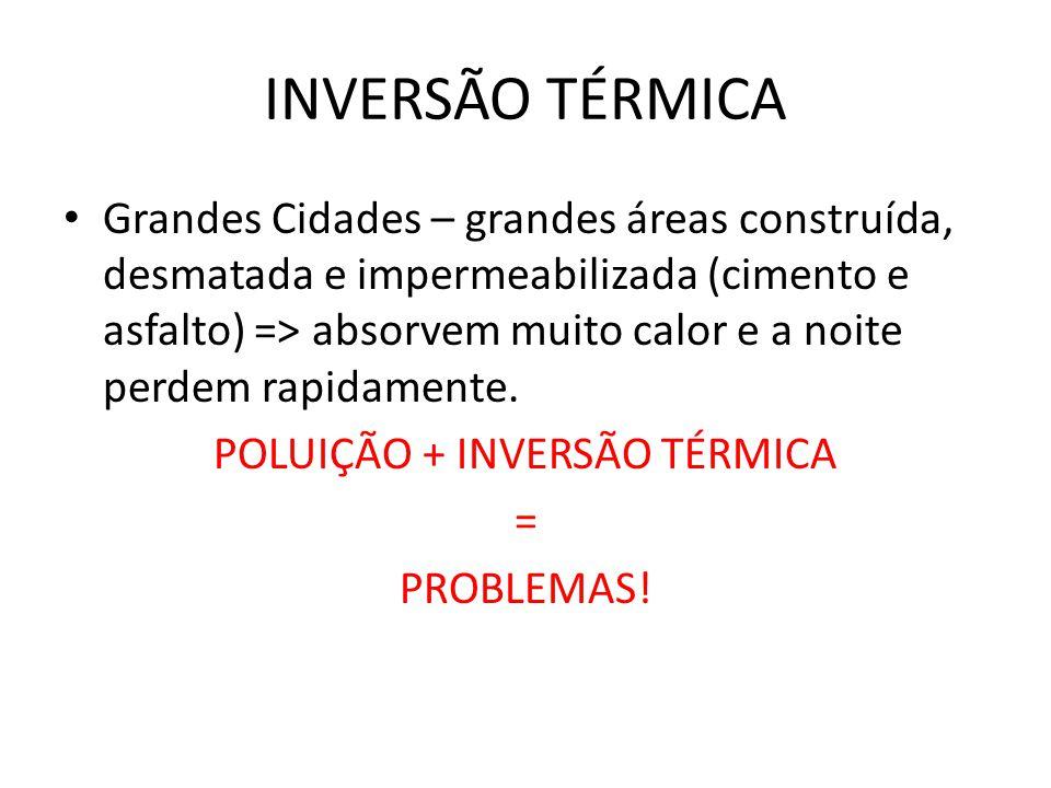 POLUIÇÃO + INVERSÃO TÉRMICA