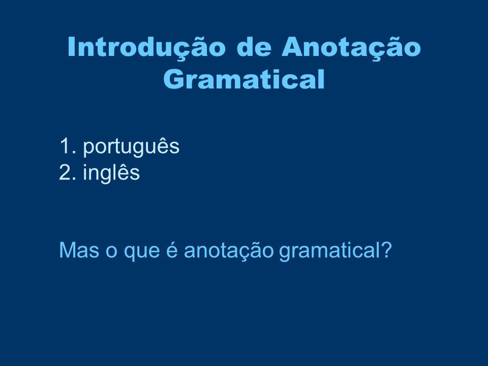 Introdução de Anotação Gramatical