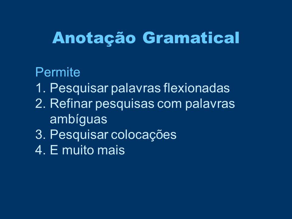 Anotação Gramatical Permite Pesquisar palavras flexionadas