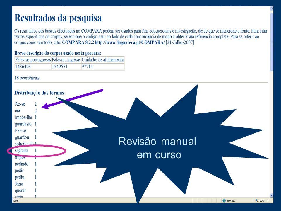 anotação automática não é 100% fiável! Revisão manual em curso