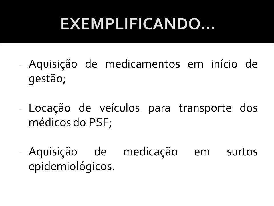EXEMPLIFICANDO... Aquisição de medicamentos em início de gestão;