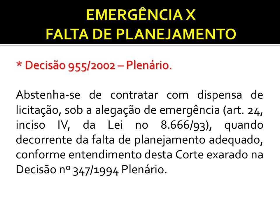 EMERGÊNCIA X FALTA DE PLANEJAMENTO