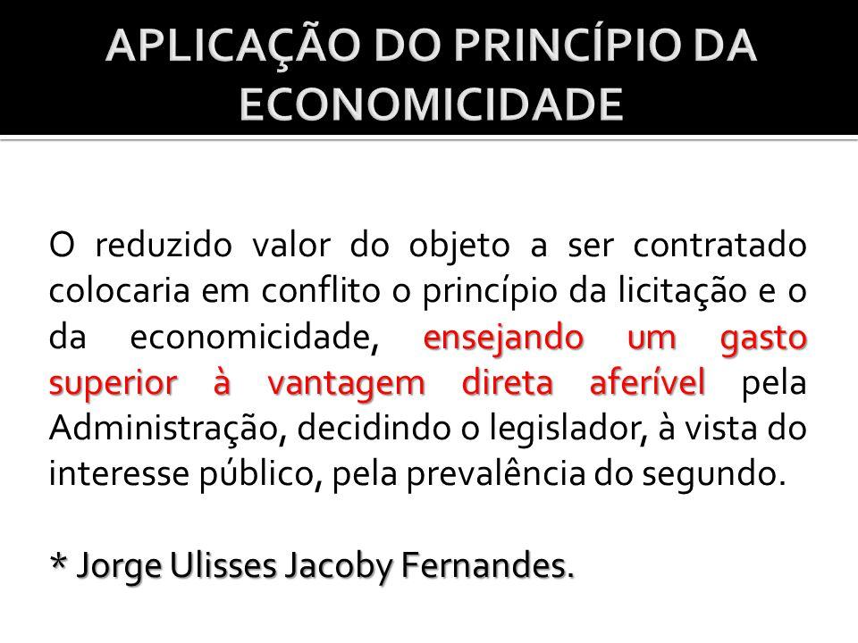 APLICAÇÃO DO PRINCÍPIO DA ECONOMICIDADE