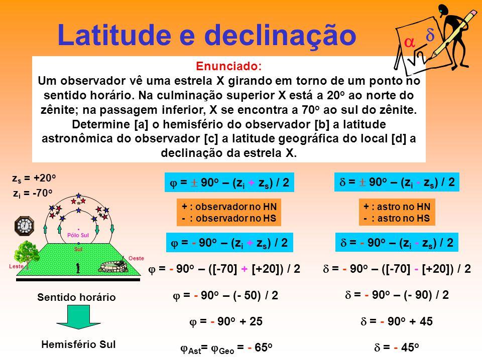 Latitude e declinação d a Enunciado: