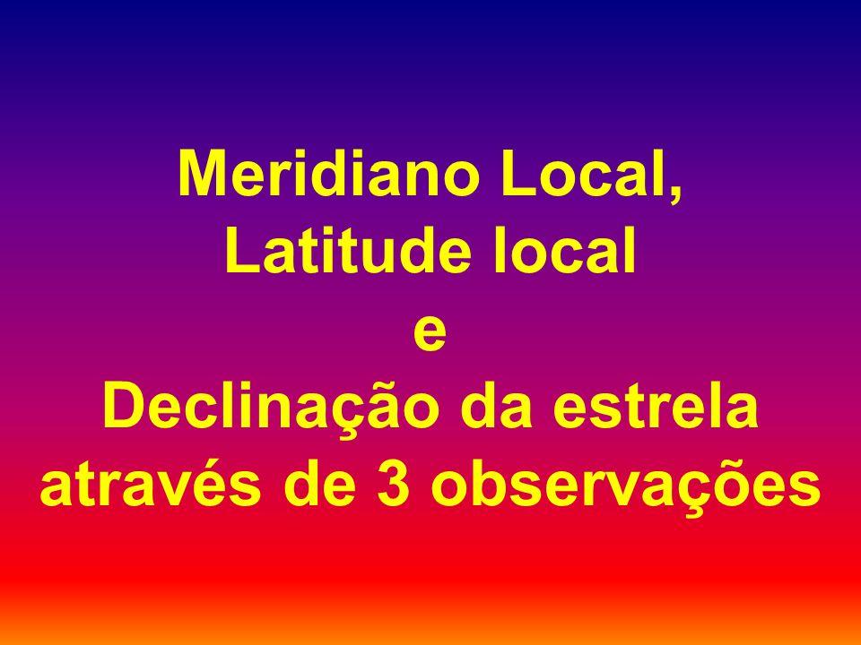 Meridiano Local, Latitude local e Declinação da estrela através de 3 observações