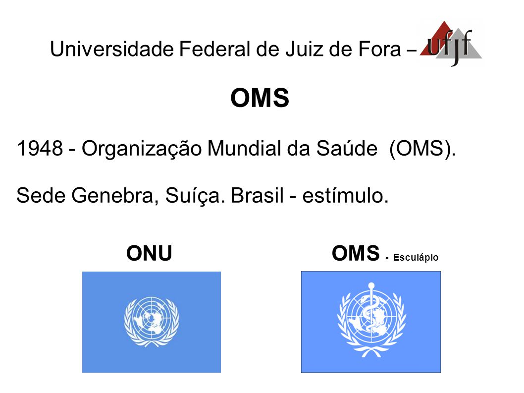 OMS ONU OMS - Esculápio Universidade Federal de Juiz de Fora –