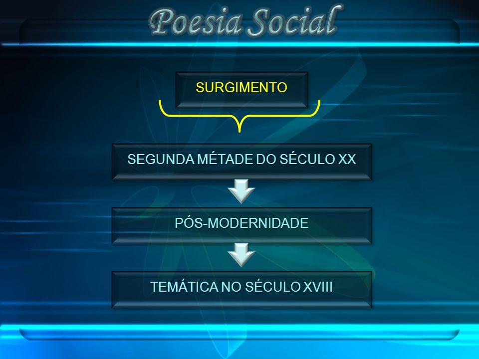 Poesia Social SURGIMENTO SEGUNDA MÉTADE DO SÉCULO XX PÓS-MODERNIDADE