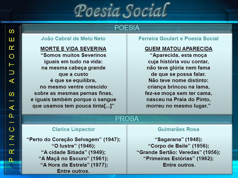 Poesia Social POESIA P R I N C I P A I S A U T O R E S PROSA