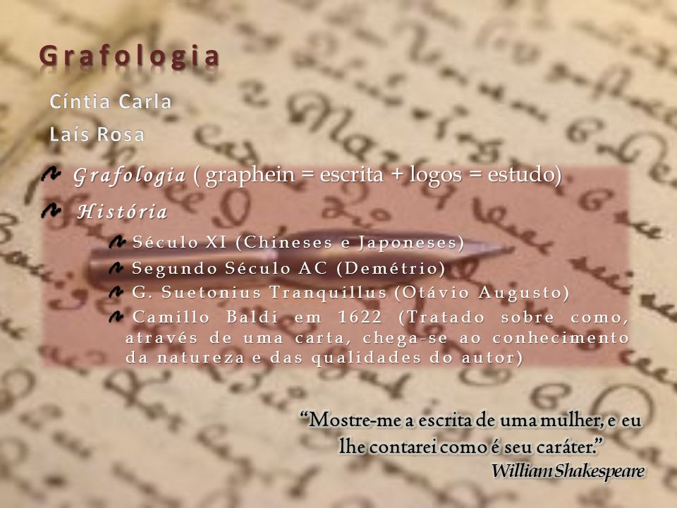 Grafologia Cíntia Carla Laís Rosa