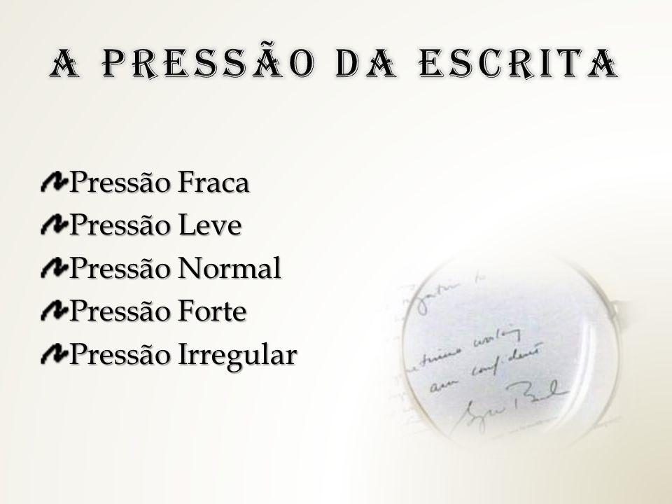 A PRESSÃO DA ESCRITA Pressão Fraca Pressão Leve Pressão Normal