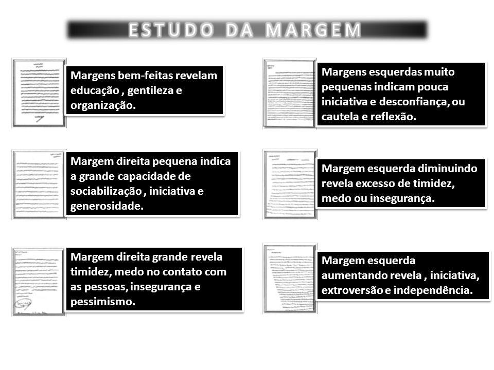 ESTUDO DA MARGEM Margens esquerdas muito pequenas indicam pouca iniciativa e desconfiança, ou cautela e reflexão.