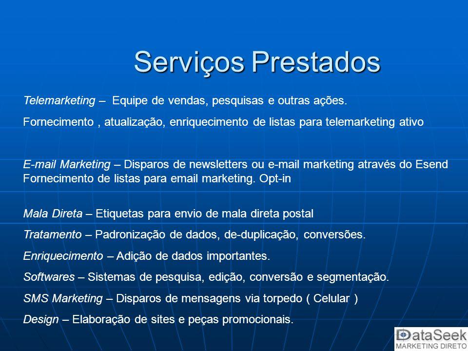 Serviços Prestados Telemarketing – Equipe de vendas, pesquisas e outras ações.