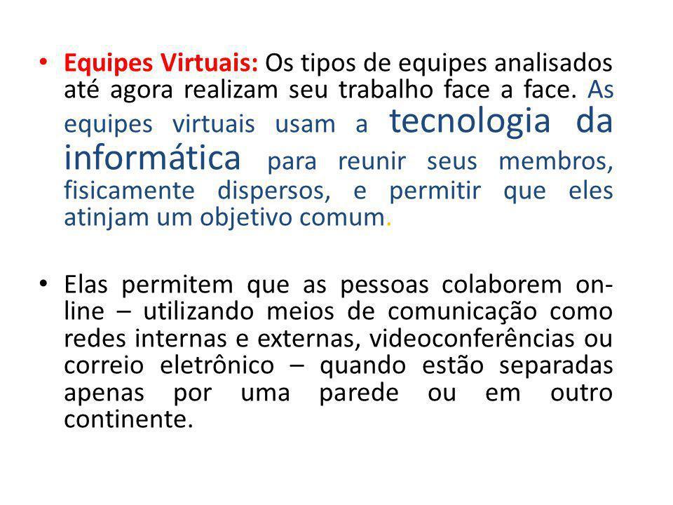Equipes Virtuais: Os tipos de equipes analisados até agora realizam seu trabalho face a face. As equipes virtuais usam a tecnologia da informática para reunir seus membros, fisicamente dispersos, e permitir que eles atinjam um objetivo comum.