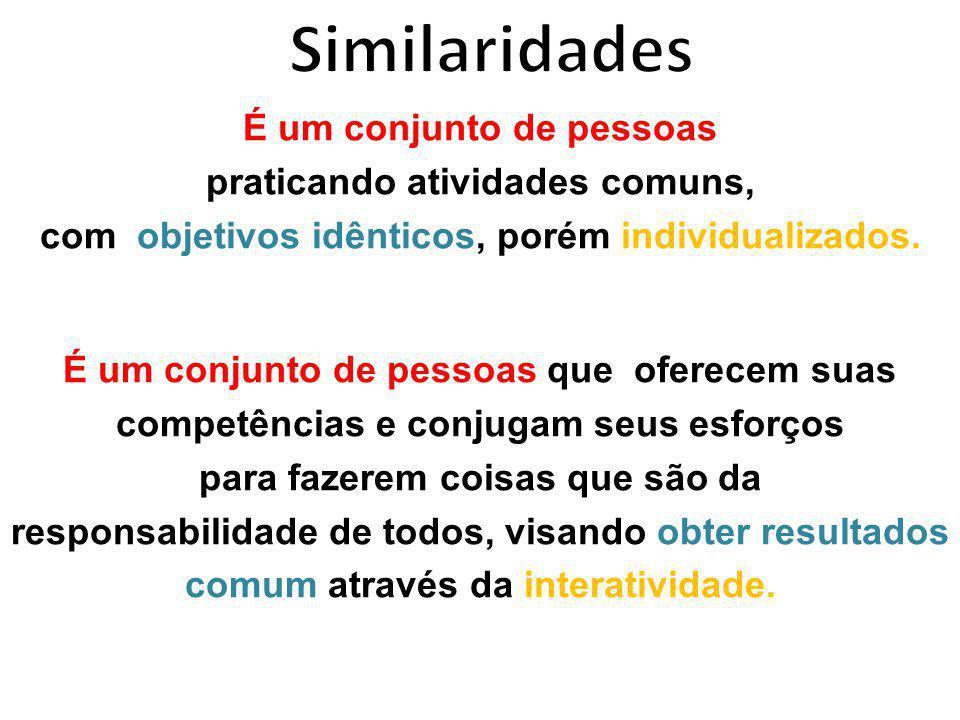 Similaridades É um conjunto de pessoas praticando atividades comuns,