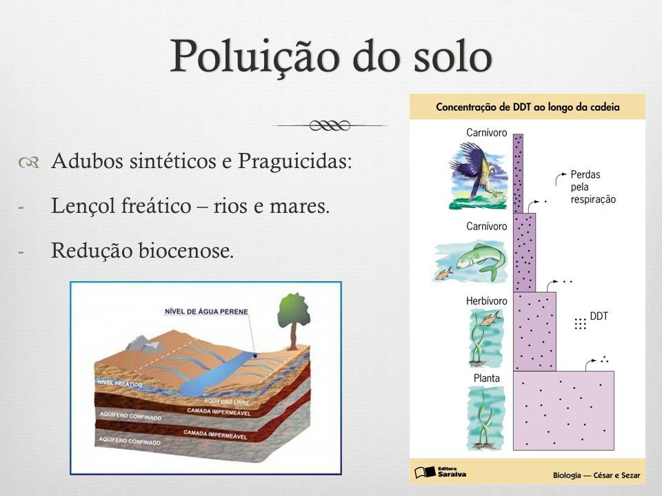 Poluição do solo Adubos sintéticos e Praguicidas:
