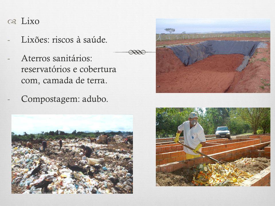 Lixo Lixões: riscos à saúde. Aterros sanitários: reservatórios e cobertura com, camada de terra.