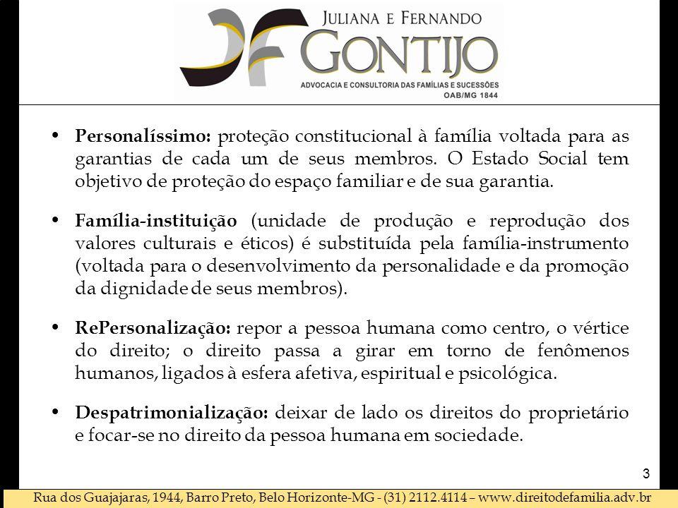 Personalíssimo: proteção constitucional à família voltada para as garantias de cada um de seus membros. O Estado Social tem objetivo de proteção do espaço familiar e de sua garantia.