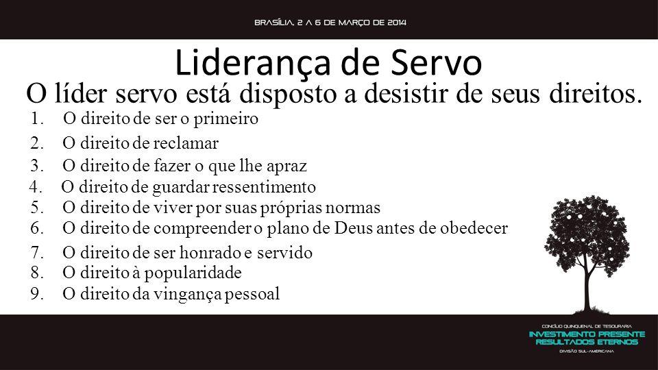Liderança de Servo O líder servo está disposto a desistir de seus direitos. O direito de ser o primeiro.